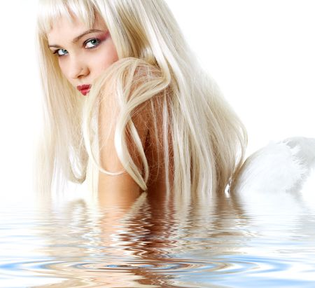 innocent: portrait of lovely blonde with angel wings in water