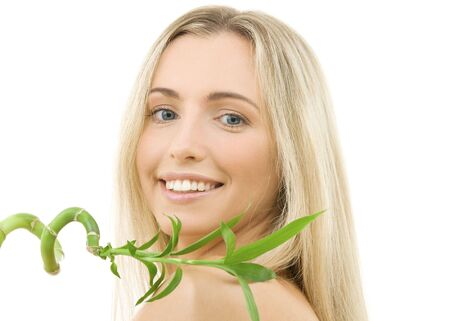 bright picture of happy blonde with bamboo Stock Photo - 3307758