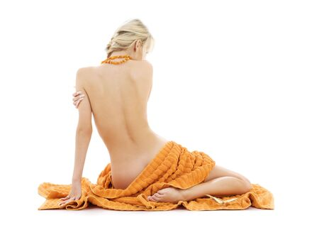 beautiful lady with orange towels over white Stock Photo - 3307830