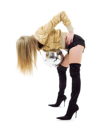 gogo girl: Partei T�nzerin M�dchen in Golden Jacke mit Disco-Kugel