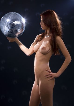 picture of naked party dancer girl with disco ball Stock Photo - 3348531