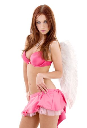 angel girl: redhead angel girl in pink lingerie over white