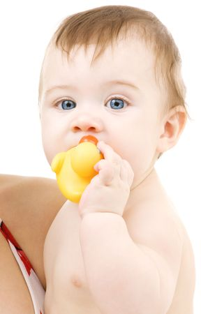 picture of blue-eyed baby boy with rubber duck Stock Photo - 3348570