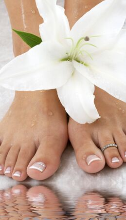 beautiful female feet with madonna lily in spa Stock Photo - 3348578