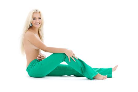 topless jeans: bright picture of topless blonde in green jeans