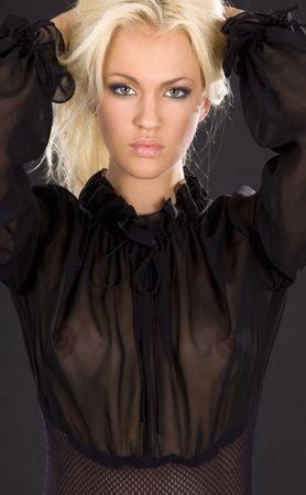 hermosa imagen de rubia en lencer�a transparente negro  Foto de archivo - 3348646