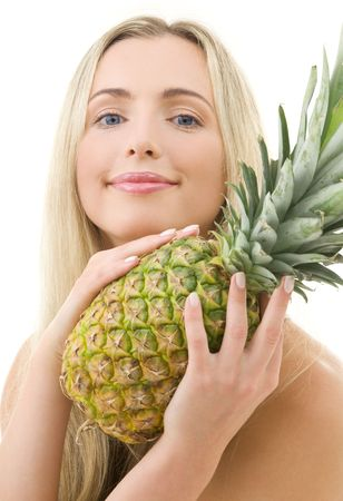 picture of lovely woman with pineapple over white