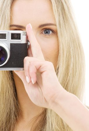 picture of lovely girl with old rangefinder camera Stock Photo - 3348682