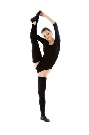 instructor in black leotard over white Stock Photo - 3465089