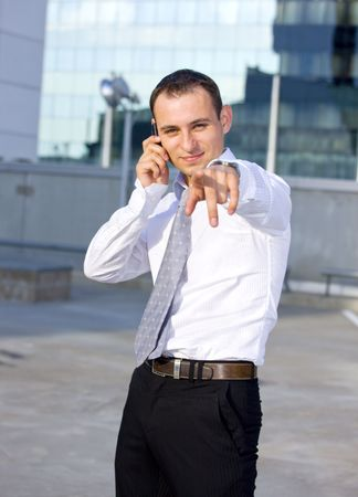 picture of handsome businessman with cell phone Stock Photo - 3465113