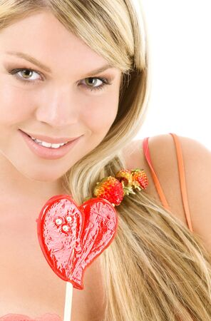 picture of blonde girl with big red lollipop Stock Photo - 3465139