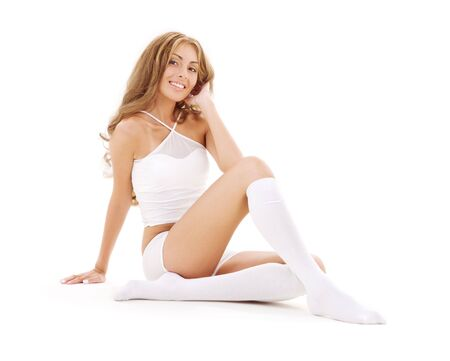 picture of lovely woman in white cotton underwear Stock Photo - 3465179