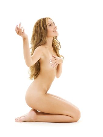 bright picture of healthy naked woman over white Stock Photo