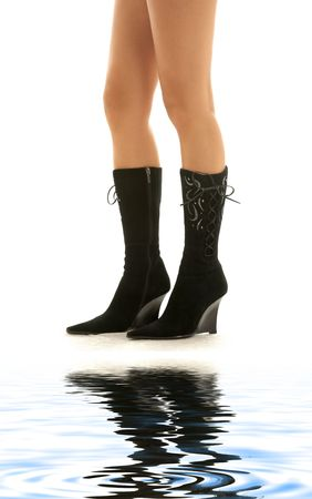 bodyscape: picture of perfect legs in black boots