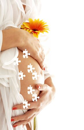 life giving birth: puzzle picture of pregnant woman belly and flower