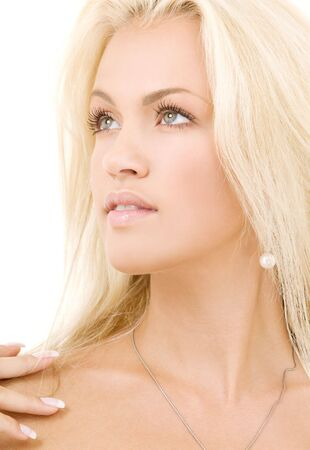 bright picture of lovely blonde over white Stock Photo - 3465222