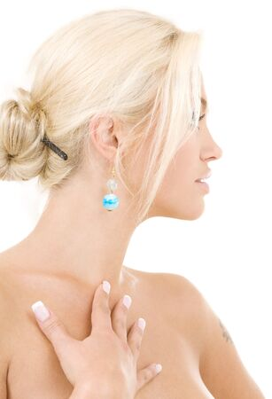 bright sideview picture of lovely blonde over white Stock Photo - 3465236