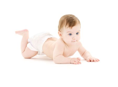 bright picture of crawling baby boy in diaper Stock Photo - 3465241