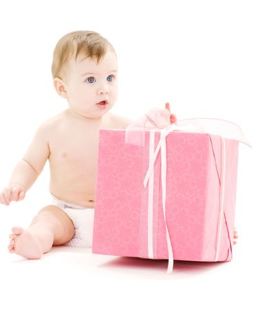 picture of baby boy in diaper with big gift box Stock Photo - 3465246