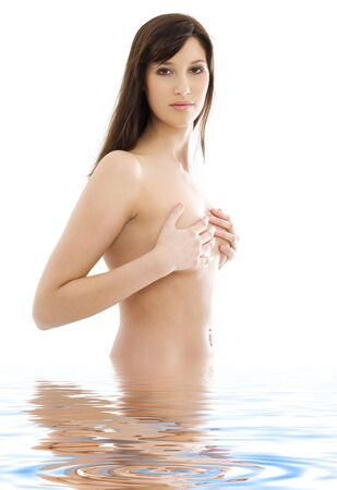 picture of lovely topless brunette in water Stock Photo - 3465274