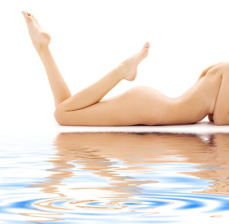 aqua naked: torso of relaxed naked woman over white LANG_EVOIMAGES