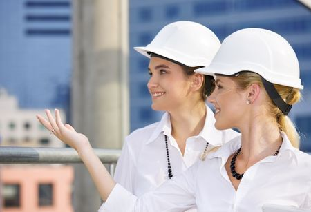 happy contractors in a front of building site Stock Photo - 3465285