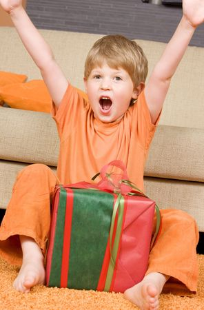 picture of happy boy with big gift box Stock Photo - 3465312