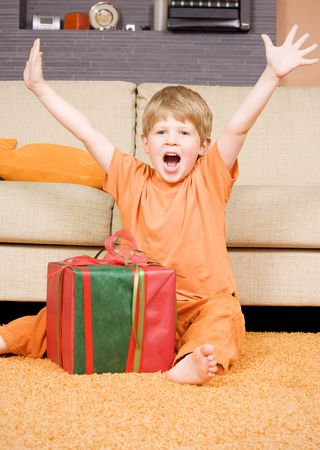 picture of happy boy with big gift box Stock Photo - 3465314
