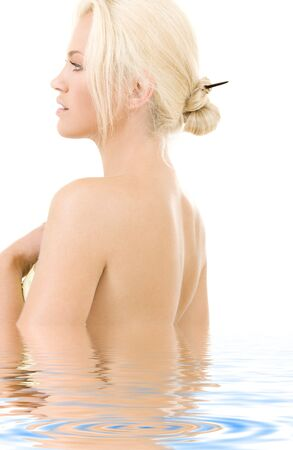 bare shoulders: bright sideview picture of lovely blonde in water