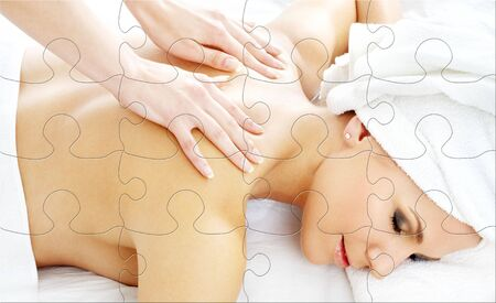 puzzle picture of lovely lady relaxing in massage salon Stock Photo - 3474767