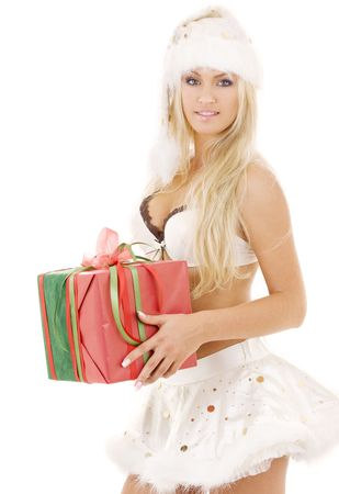 picture of santa helper girl in white lingerie with gift box Stock Photo