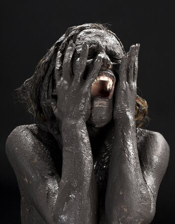 picture of crying dirty woman over black Stock Photo - 3474778