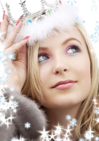 closeup portrait of lovely blond in fur and crown