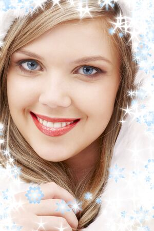 closeup portrait of lovely blond in fur Stock Photo - 3491697