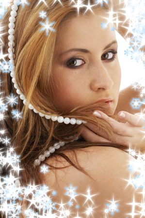 portrait of lovely lady with white pearl beads Stock Photo - 3558098
