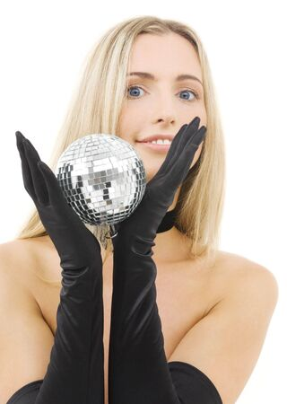 picture of lovely blonde with disco ball Stock Photo
