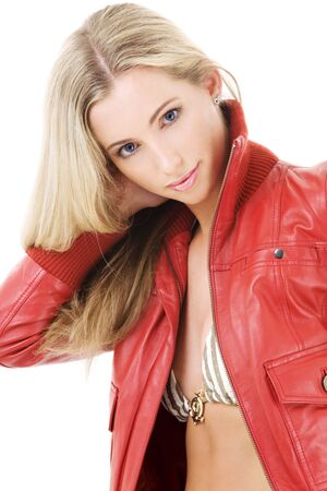 lovely blonde in striped bikini and red leather jacket