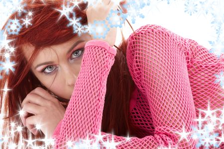 carnal: picture of mysterious redhead in pink fishnet