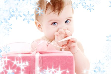 picture of baby boy with big gift box Stock Photo - 3641517