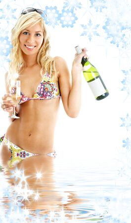 beach party girl in colorful bikini with glass and bottle of wine Stock Photo - 3641514