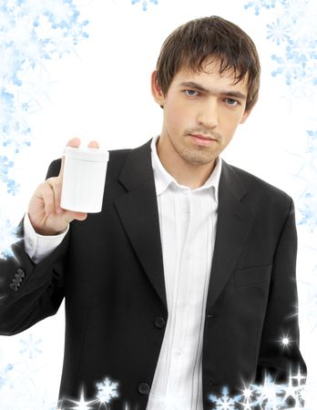 picture of confident man showing blank medication container Stock Photo - 3641501