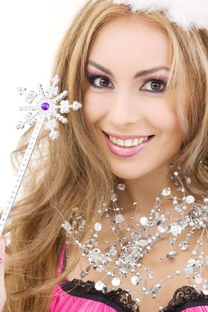 girl magic wand: picture of lovely fairy in crown with magic wand