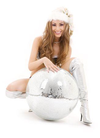 sexy santa helper with big disco ball over white