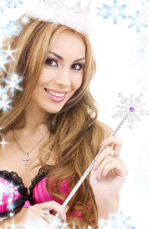 picture of lovely fairy in crown with magic wand