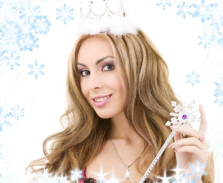 picture of lovely fairy in crown with magic wand Stock Photo - 3641271