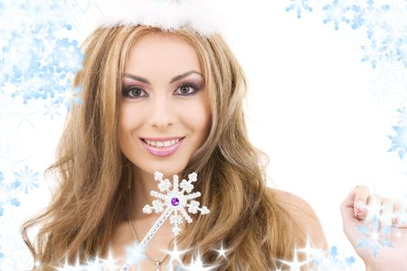 the enchantress: picture of lovely fairy in crown with magic wand