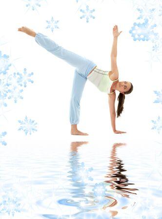 chandrasana: girl practicing ardha chandrasana half moon pose
