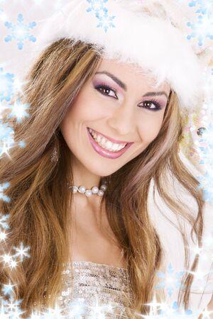 glitter makeup: imagen de ni�a santa ayudante con los copos de nieve