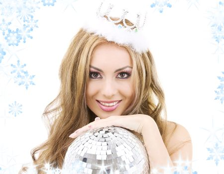 picture of lovely fairy in crown with disco ball Stock Photo - 3684635