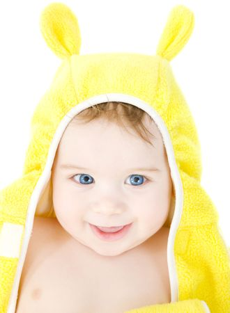 happy baby with terry hoodie robe on head over white Stock Photo - 3701611